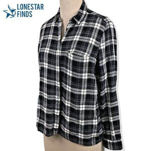 Massimo Dutti Plaid Long Sleeve Relaxed Top Sz M